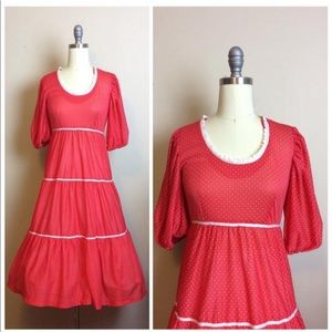 1970s Vintage Red Polkadot Western Tiered Dress